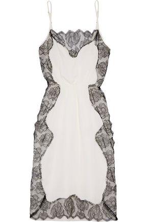 FLEUR DU MAL Lace-paneled silk-crepe chemise