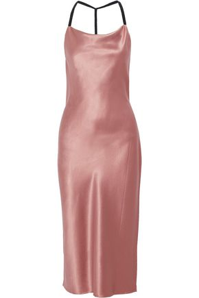 FLEUR DU MAL Silk-satin slip dress