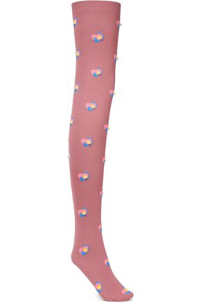 MARC JACOBS Faux pearl-trimmed Intarsia-wool socks