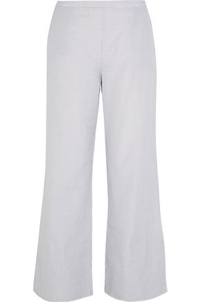 THREE GRACES LONDON Basilio striped cotton and linen-blend pajama pants