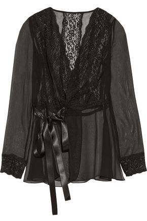 DOLCE & GABBANA Lace-trimmed silk-blend chiffon wrap top