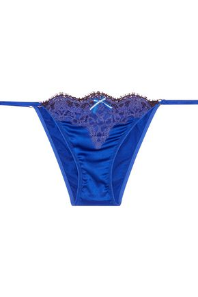 ROBERTO CAVALLI Low-rise lace-trimmed silk-blend satin briefs