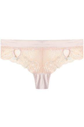 HEIDI KLUM INTIMATES Low-rise cutout satin-trimmed lace briefs