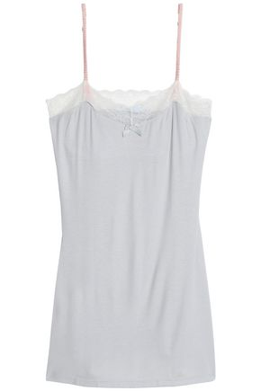 EBERJEY Lace-trimmed jersey top
