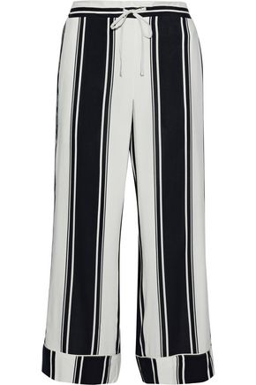 IRIS & INK Cropped striped crepe wide-leg pants