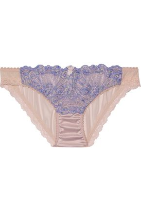 MIMI HOLLIDAY by DAMARIS Tiger Lily lace, satin and mesh low-rise briefs