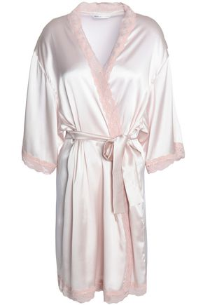 MIMI HOLLIDAY by DAMARIS Corded lace-trimmed silk-blend satin robe