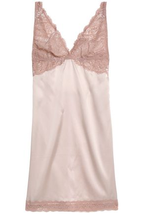 MIMI HOLLIDAY by DAMARIS Lace-paneled cutout stretch silk-satin chemise