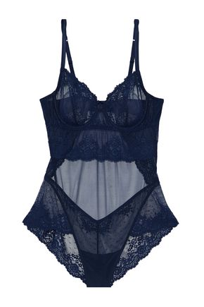 MIMI HOLLIDAY by DAMARIS Embroidered lace and point d'esprit-paneled tulle chemise