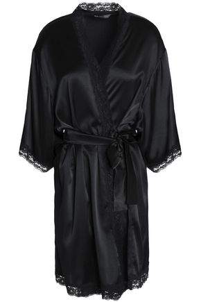 MIMI HOLLIDAY by DAMARIS Lace-trimmed silk-satin robe
