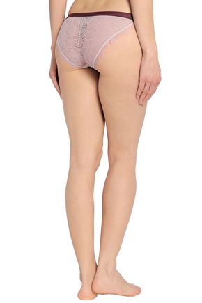 LOVE STORIES Wild Rose printed stretch-jersey and corded lace low-rise briefs
