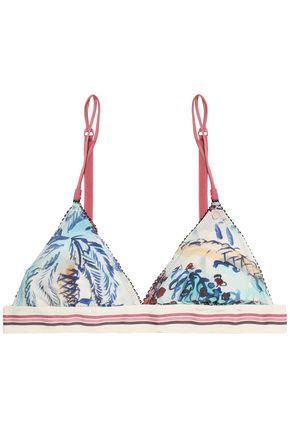 LOVE STORIES Printed stretch-jersey soft-cup triangle bra