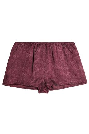 LOVE STORIES Snake-print satin pajama shorts