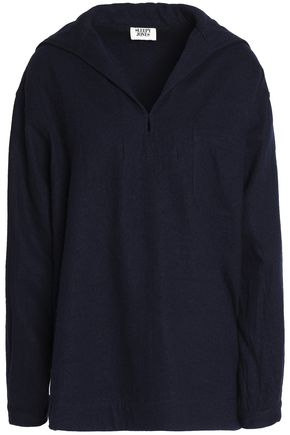 SLEEPY JONES Hooded flannel-wool pajama top