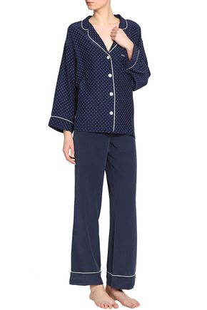 SLEEPY JONES Printed silk-satin pajama top