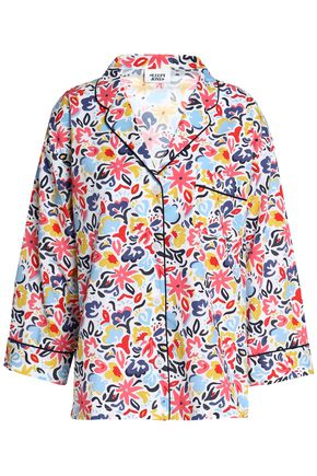 SLEEPY JONES Printed cotton-poplin pajama top