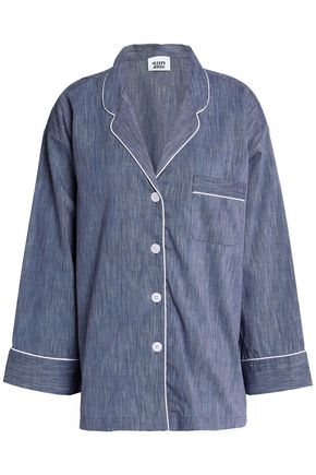 SLEEPY JONES Cotton-chambray pajama top
