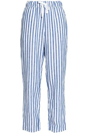 SLEEPY JONES Striped cotton pajama pants