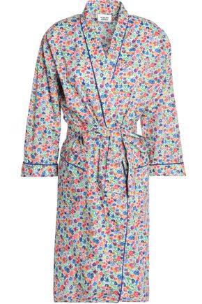 SLEEPY JONES Floral-print cotton-poplin robe