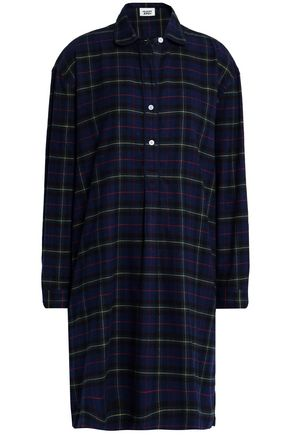 SLEEPY JONES Plaid cotton-flannel nightdress