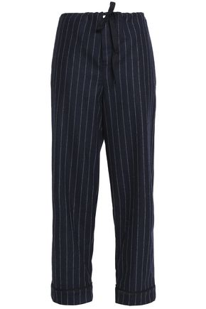SLEEPY JONES Cropped pinstriped wool straight-leg pajama pants