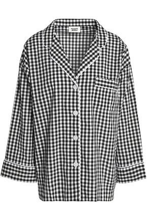 SLEEPY JONES Gingham seersucker cotton pajama top