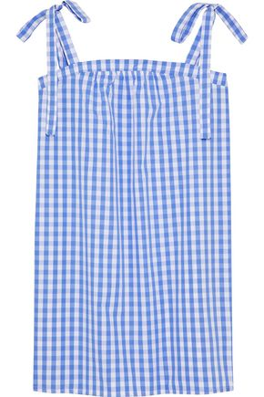 THREE J NYC Bow-detailed gingham cotton-poplin nightdress