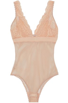 STELLA McCARTNEY Lace-paneled mesh bodysuit