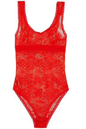 STELLA McCARTNEY Open knit-trimmed lace bodysuit