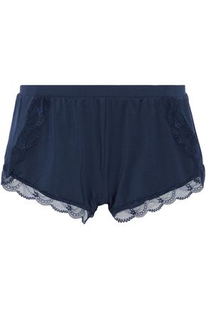 HEIDI KLUM INTIMATES Lace-trimmed stretch-modal jersey pajama shorts