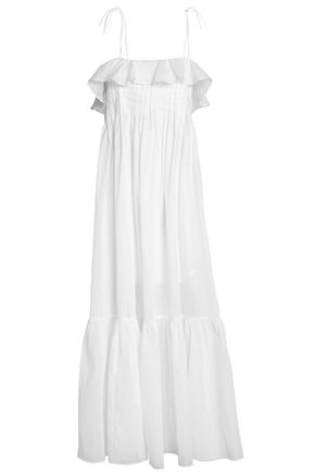 THREE GRACES LONDON Ruffled pleated cotton gauze maxi dress