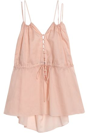 THREE GRACES LONDON Gathered cotton-voile camisole