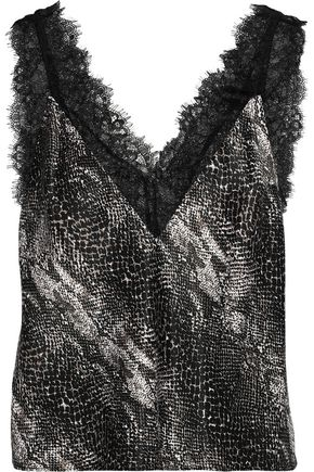 FLEUR DU MAL Margo lace-trimmed snake-print silk-charmeuse camisole