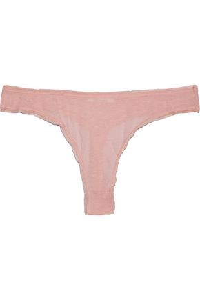 SKIN Mesh-trimmed Pima cotton-jersey low-rise thong