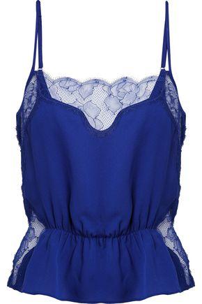 Lace Paneled Silk Camisole by Fleur Du Mal