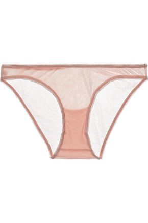SKIN Crochet-trimmed cotton-jersey low-rise briefs
