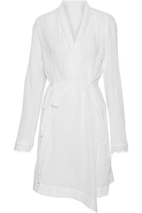 SKIN Lace-trimmed crinkled cotton-gauze robe