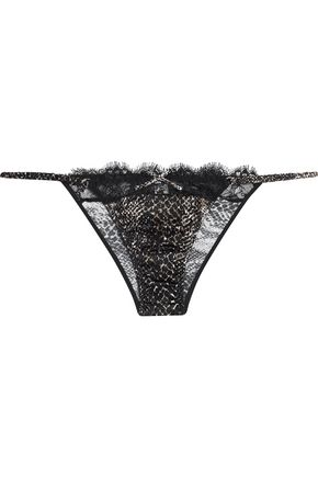 LE FLEUR DU MAL Low-rise lace-trimmed snake-print stretch silk-satin briefs