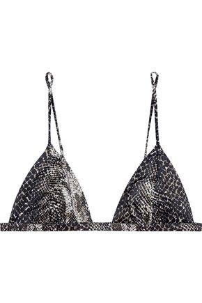 LE FLEUR DU MAL Snake-print stretch-silk triangle cup bra