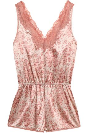 STELLA McCARTNEY Lace-trimmed leoaprd-print silk-blend satin playsuit