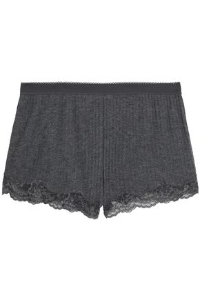 STELLA McCARTNEY Lace-trimmed mélange ribbed-knit  pajama shorts