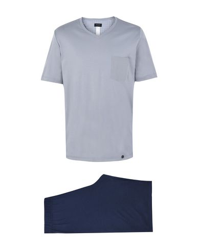 HANRO メンズ パジャマ グレー S コットン 100% NIGHT & DAY