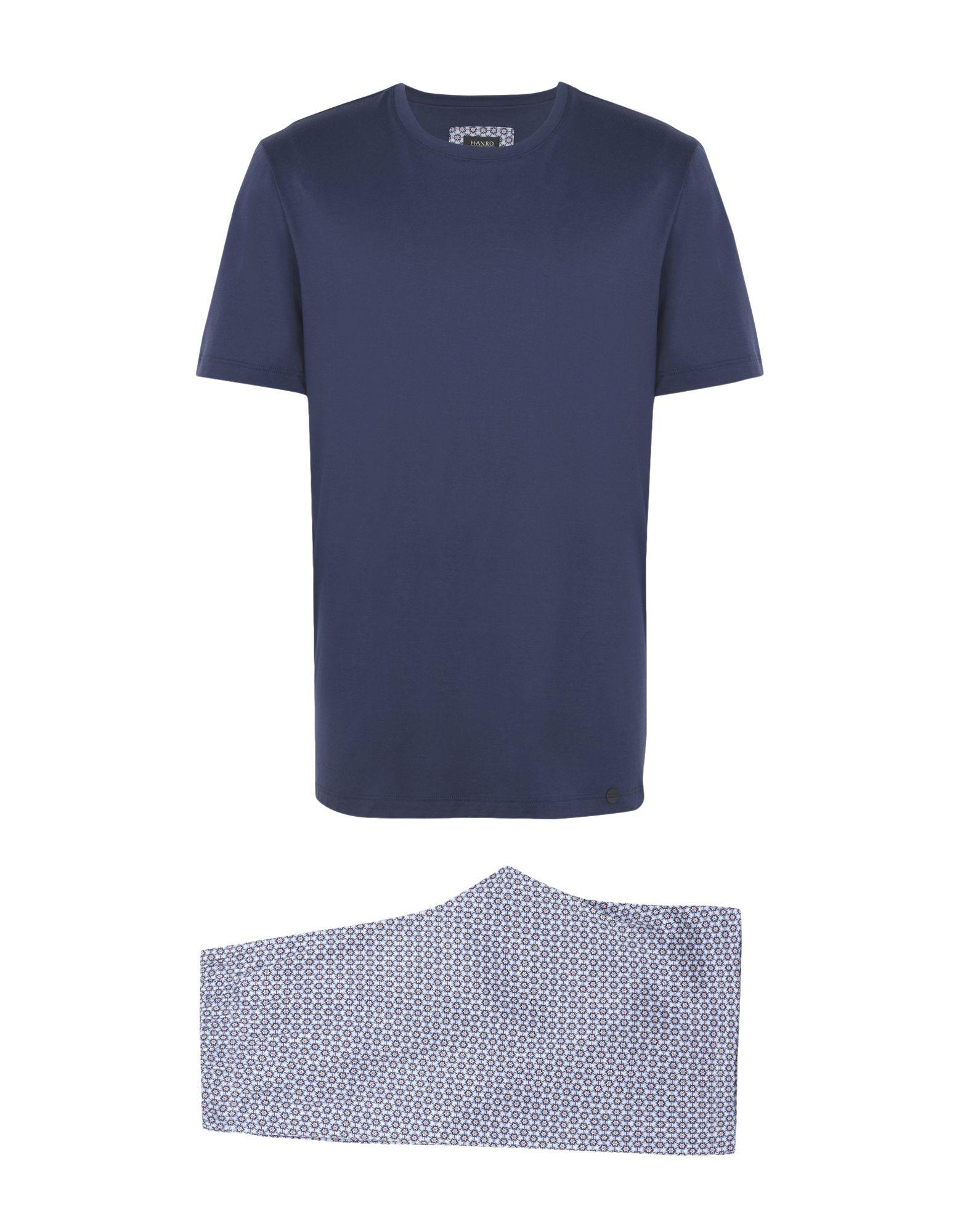 《送料無料》HANRO メンズ パジャマ ブルー S コットン 100% night & day