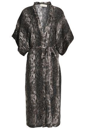 FLEUR DU MAL Snake-print silk robe