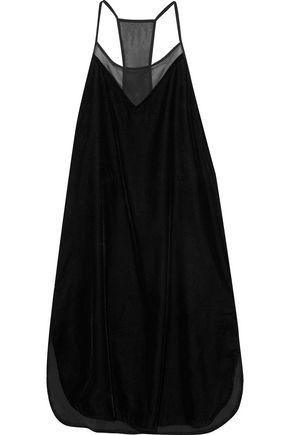 DKNY Chiffon-paneled velvet chemise