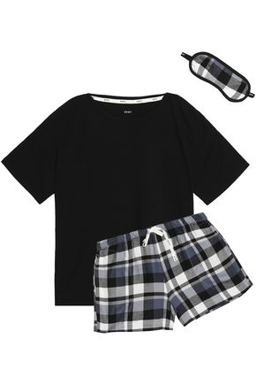 DKNY Cotton-blend jersey and checked flannel pajama set