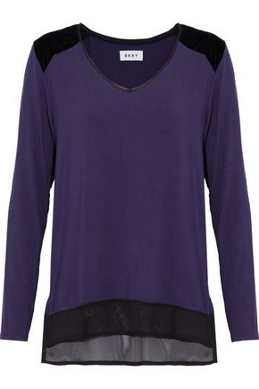 DKNY Chiffon and velvet-paneled jersey pajama top