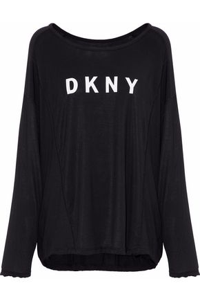 DKNY Printed stretch-modal pajama top
