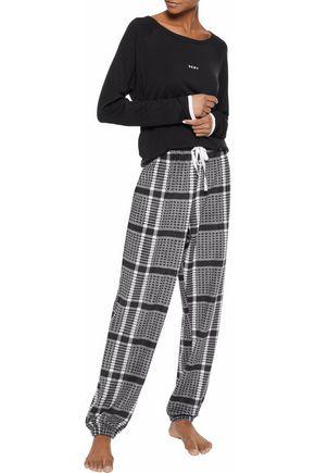 DKNY Printed fleece and stretch modal-jersey pajama set