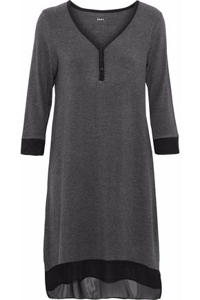 DKNY Chiffon-trimmed stretch modal-jersey nightdress